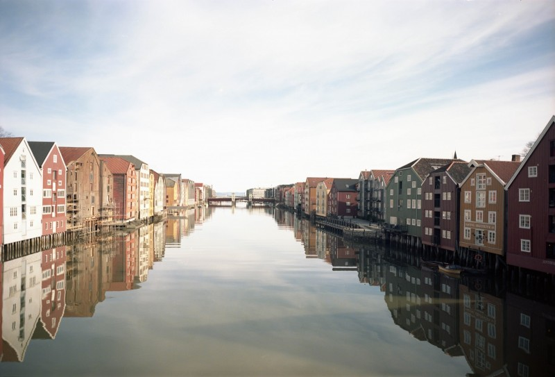 Old wharves of Trondheim with tilt